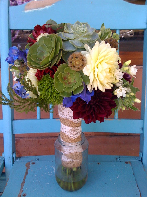 succulent bridal bouquet for a local wedding at the UC Botanical Garden by Gorgeous and Green