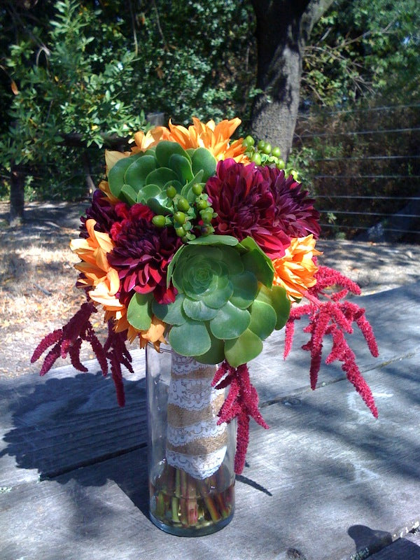 Succulents and dahlias for a bridal bouquet by Gorgeous and Green