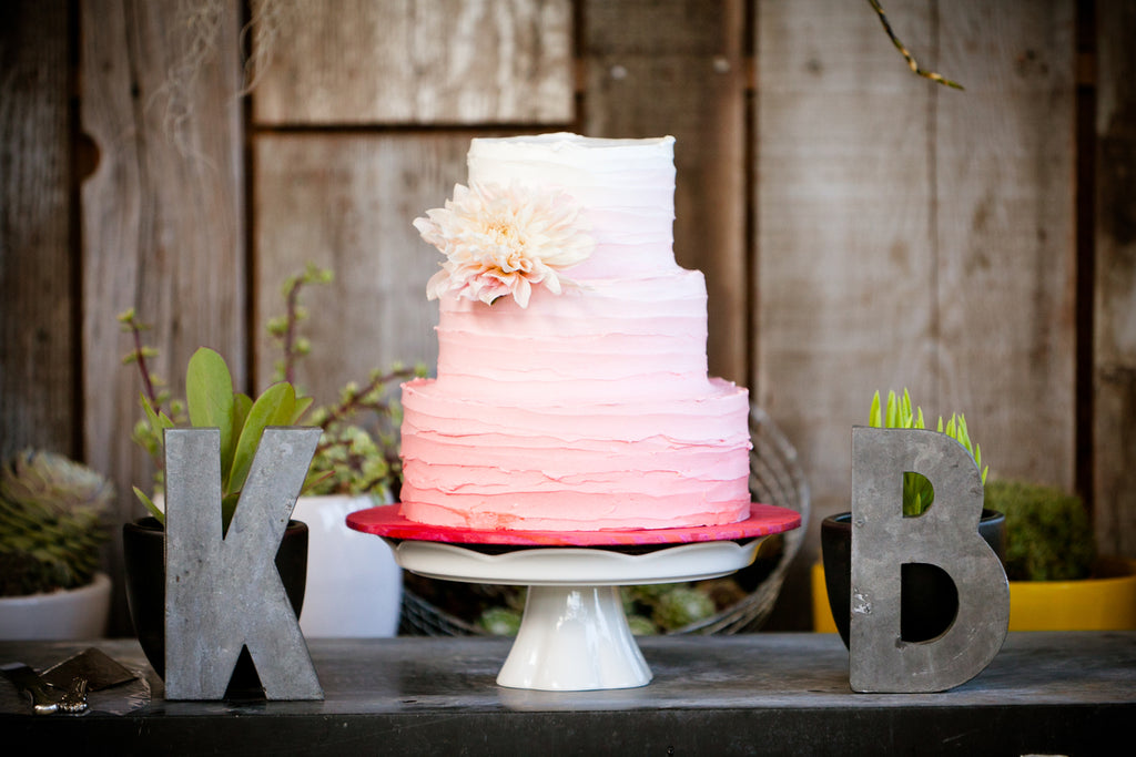 Beautiful ombre cake with a cafe au lait dahlia