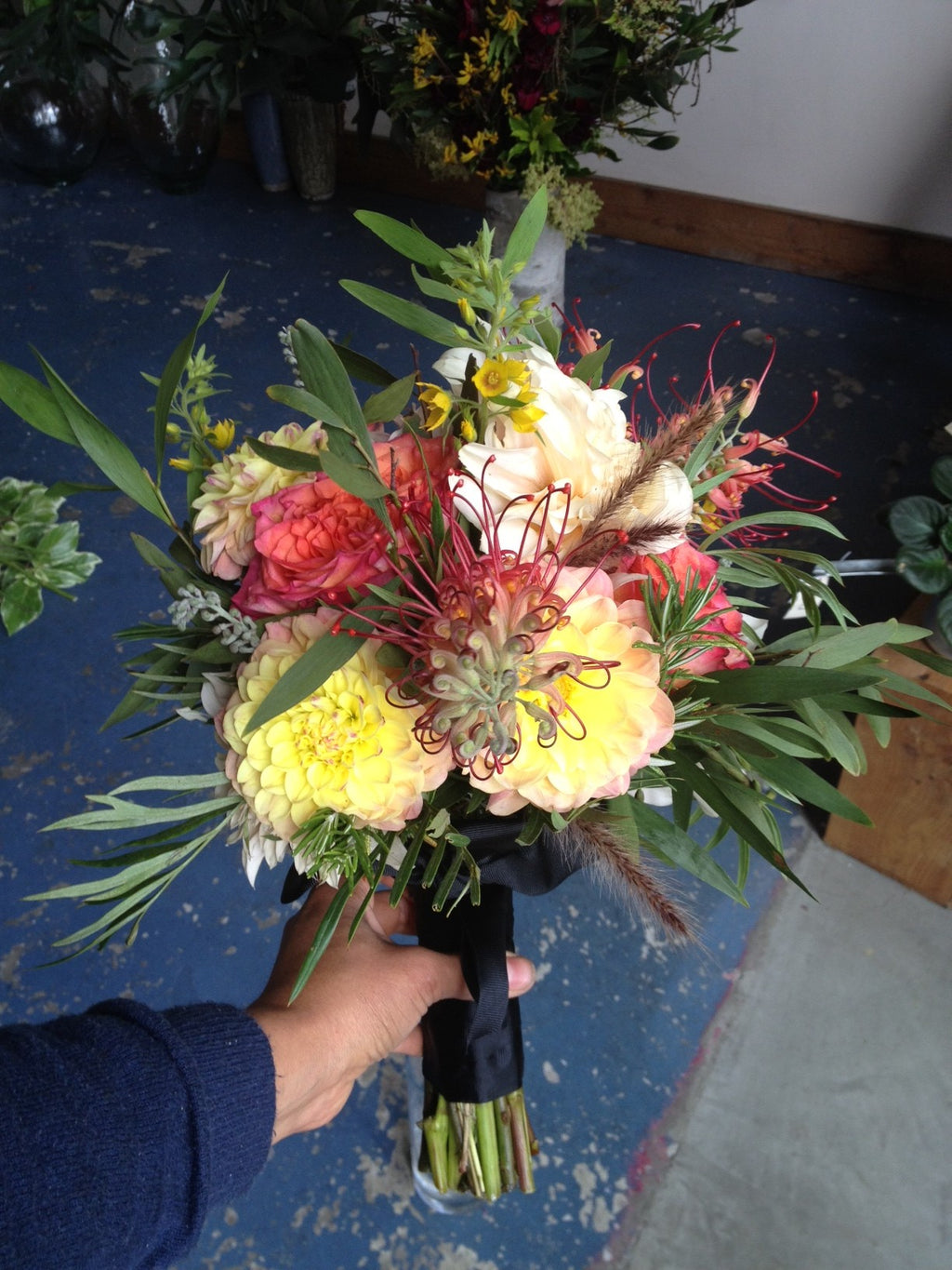 small bridal bouquet with grevillia by Gorgeous and Green