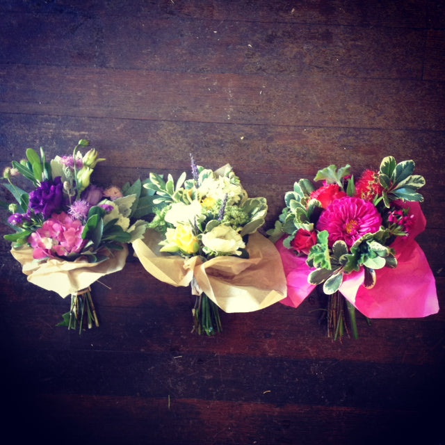 Local grown bouquets, mini sized by Gorgeous and Green