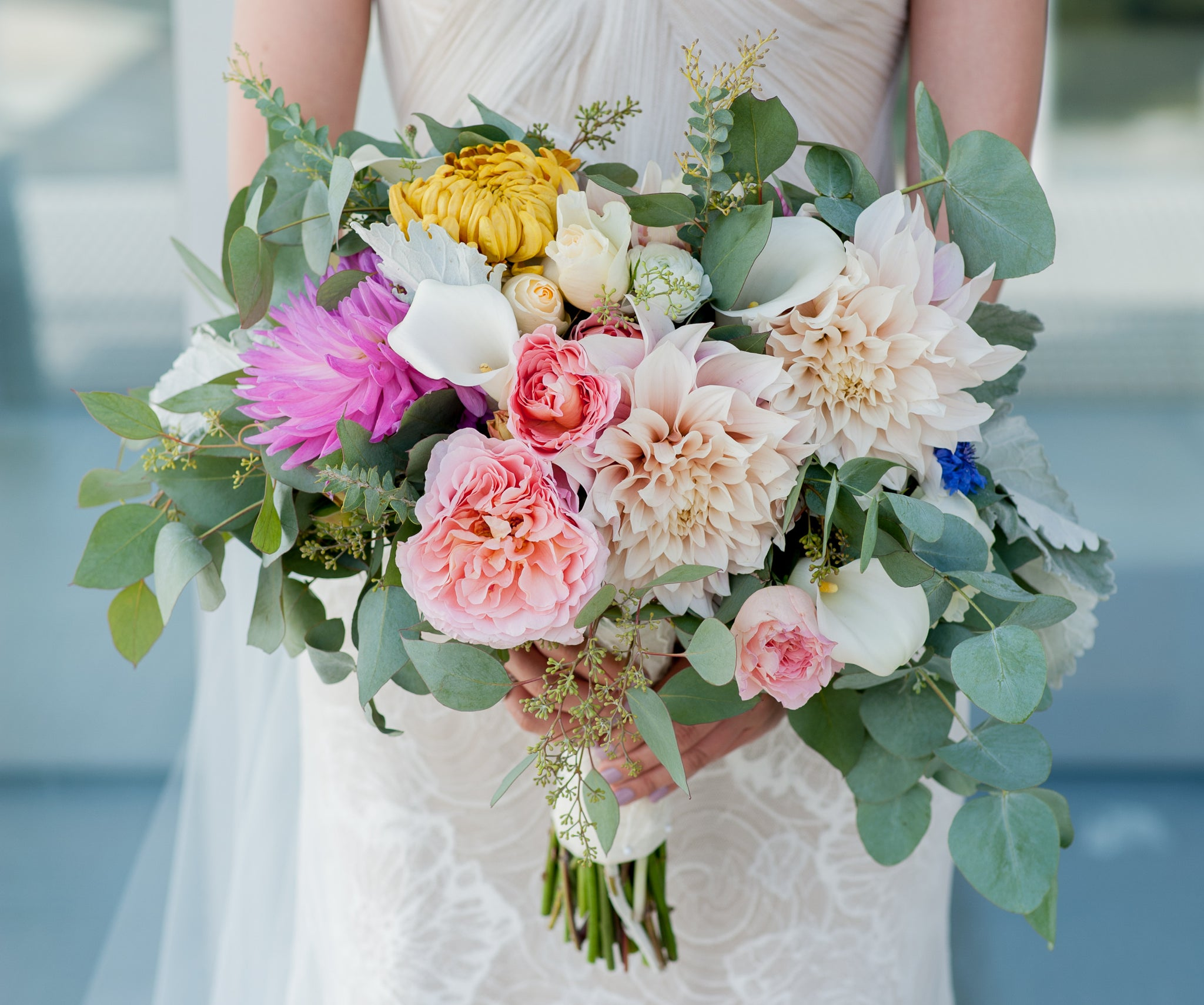 Lush and natural Bridal Bouquet for a wedding at Cal by Gorgeous and Green