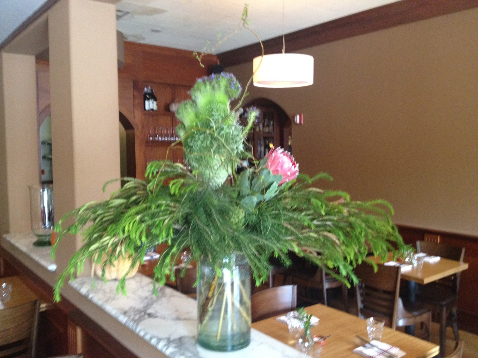 Strange euphorbia arrangement for local farm to table restaurant