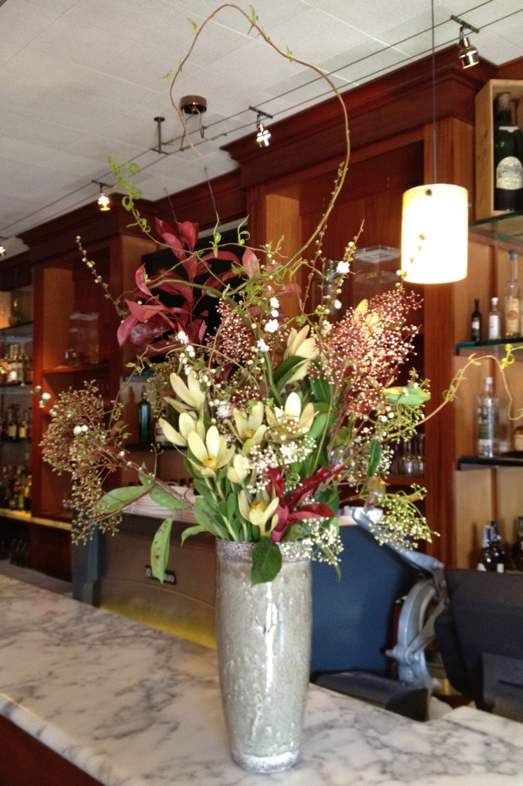 branchy and wild arrangement for local farm to table restaurant in Berkeley by Gorgeous and Green