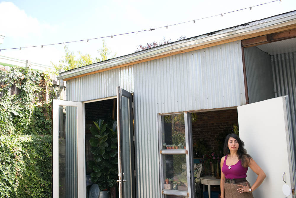 Pilar Zuniga, the owner of Gorgeous and Green at her Oakland Floral Studio.