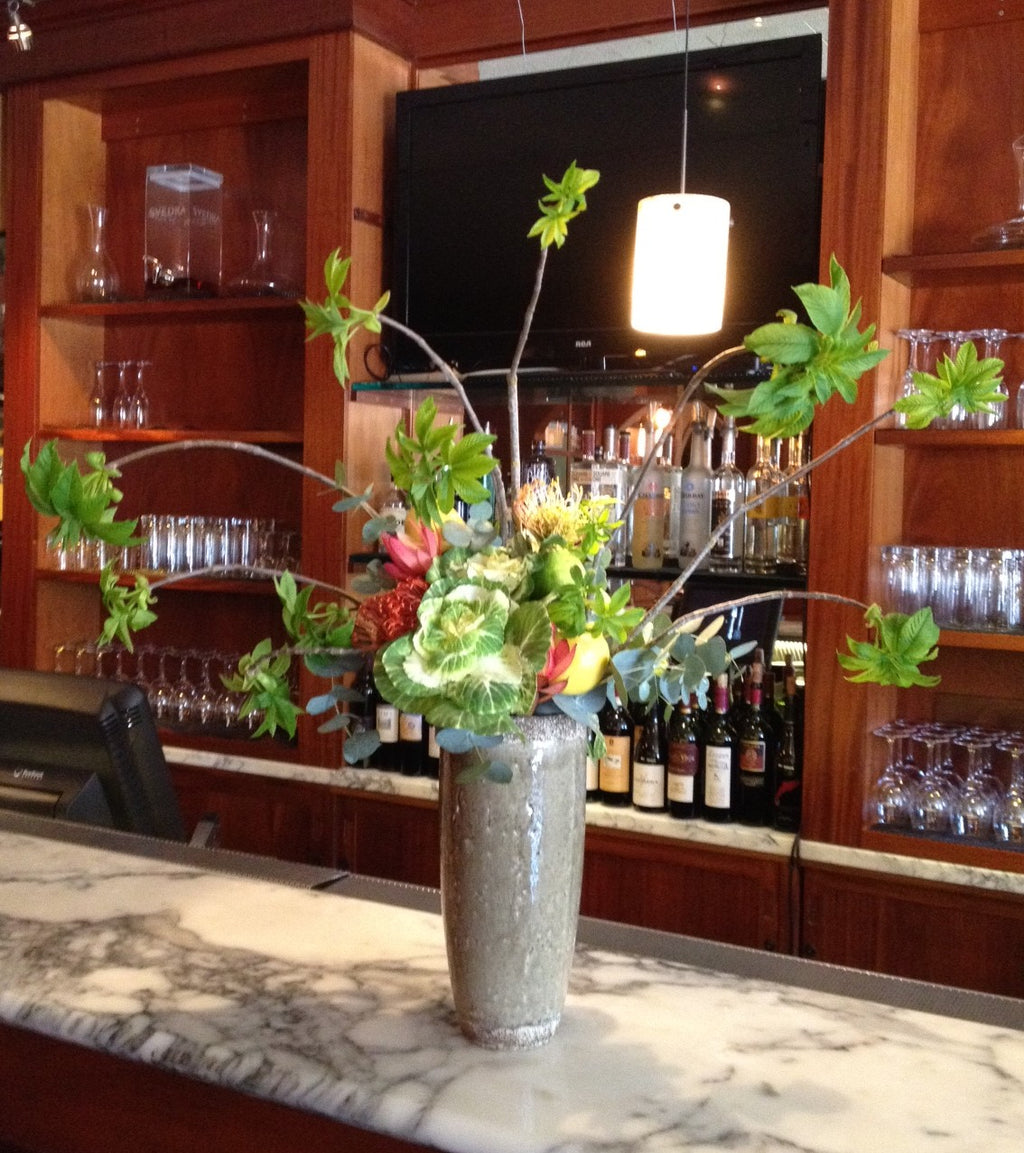 Bar arrangement with fun branches by Gorgeous and Green