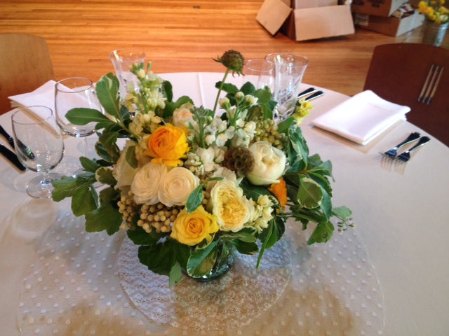 Sweetheart table arrangement in yellows and green by Gorgeous and Green for Mill Valley Outdoor Art Club wedding
