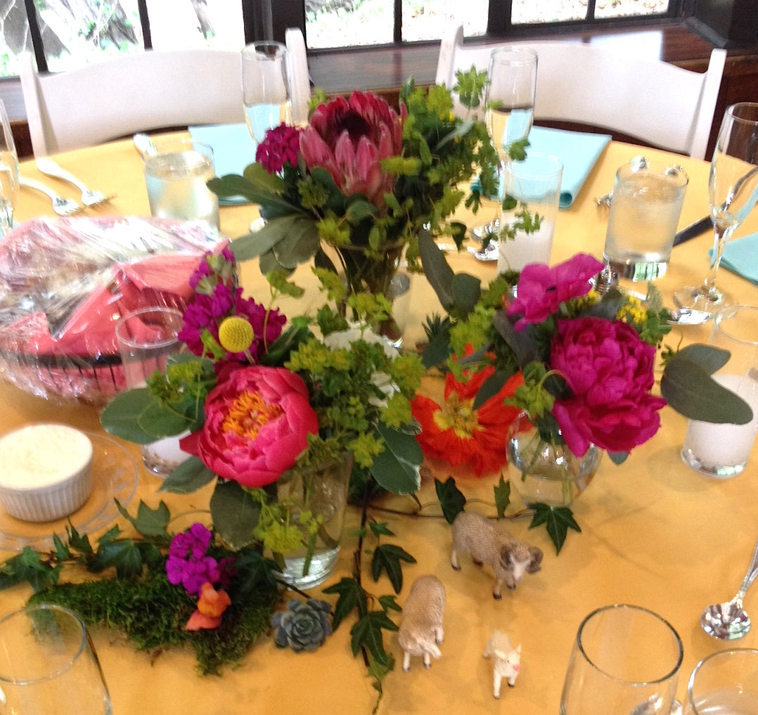 Gorgeous and Green colorful wedding centerpieces at the Brazil Room Berkeley with animals