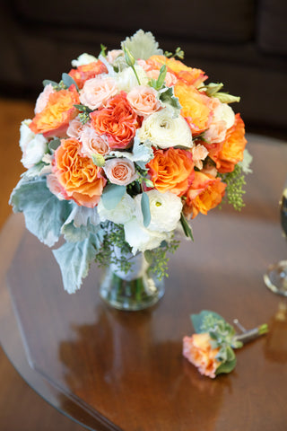 Coral, pink and peach Round Bridal bouquet by Gorgeous and Green in Napa Calistoga Hans Fahden Winery