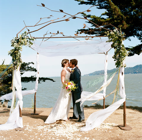 Ceremony on the hill, florals by Gorgeous and Green, Tiburon Wedding