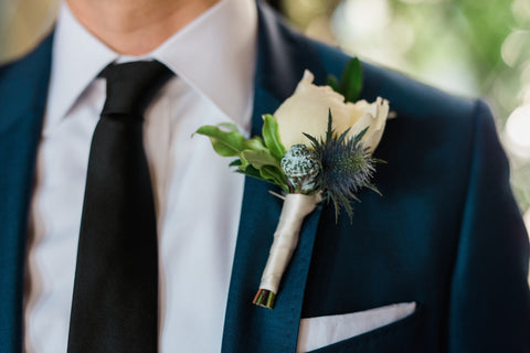 simple boutonniere with blue thistle, florals by Gorgeous and Green for wedding Berkeley City Club