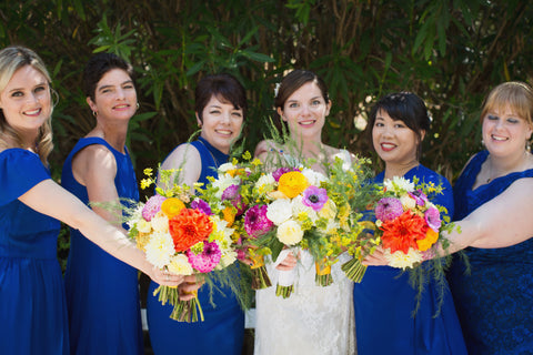 bouquets in oranges, corals, fuchsia, green, golds and plums by Gorgeous and Green, Tiburon Wedding