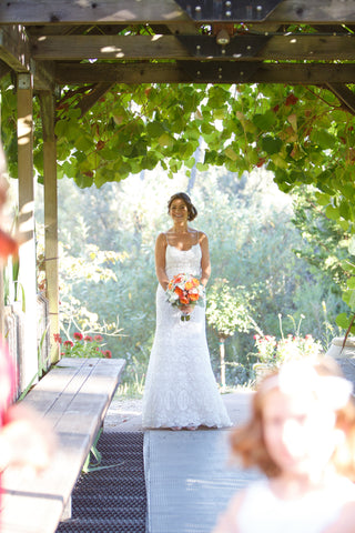 Coral, pink and peach wedding flowers by Gorgeous and Green in Napa Calistoga Hans Fahden Winery