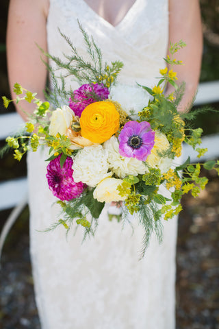 Bridal bouquet, alive wild and colorful by Gorgeous and Green, Tiburon Wedding