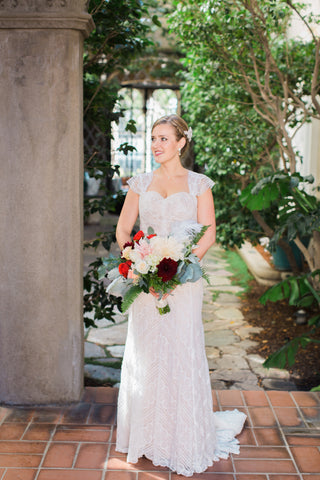 Bride and her Vintage Bouquet by Gorgeous and Green, wedding Berkeley City Club
