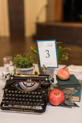 vintage typewriter centerpiece florals by Gorgeous and Green for wedding Berkeley City Club