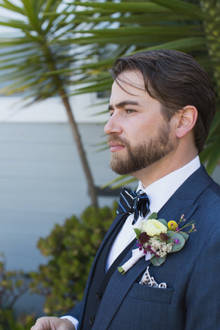 groom's boutonniere in white golds and plums by Gorgeous and Green, Tiburon Wedding