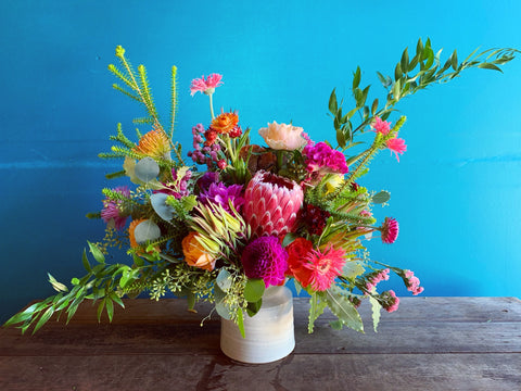 Learn to get in touch with your creative intuition to create art fueled by color and texture like this flower arrangement by Gorgeous and Green