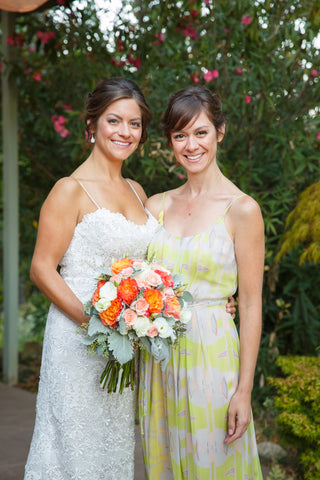 Bride and her sister, florals by Gorgeous and Green in Napa Calistoga Hans Fahden Winery