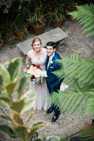 Bride and Groom at the Berkeley City Club, floral design by Gorgeous and Green