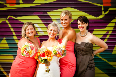 Bride and the girls in the Mission florals by Gorgeous and Green