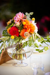 Centerpiece design for a wedding at Flora Grubb Garden by Gorgeous and Green
