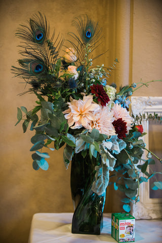 Entrance florals with a vintage twist by Gorgeous and Green, wedding Berkeley City Club