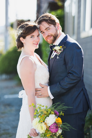 Bride and Groom, florals by Gorgeous and Green, Tiburon Wedding