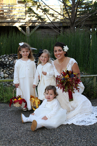 The Bride and her flower girls at Costanoa, florals by Gorgeous and Green