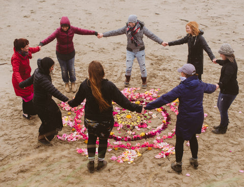 mandala dance, florists dancing in the rain at the Manzanita Beach workshop