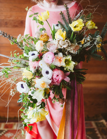 bridal bouquet by Pilar Zuniga, of Gorgeous and Green at the Ponderosa workshop