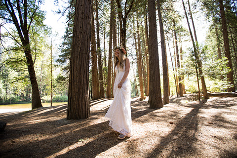 Yosemite Bride with head garland by Gorgeous and Green