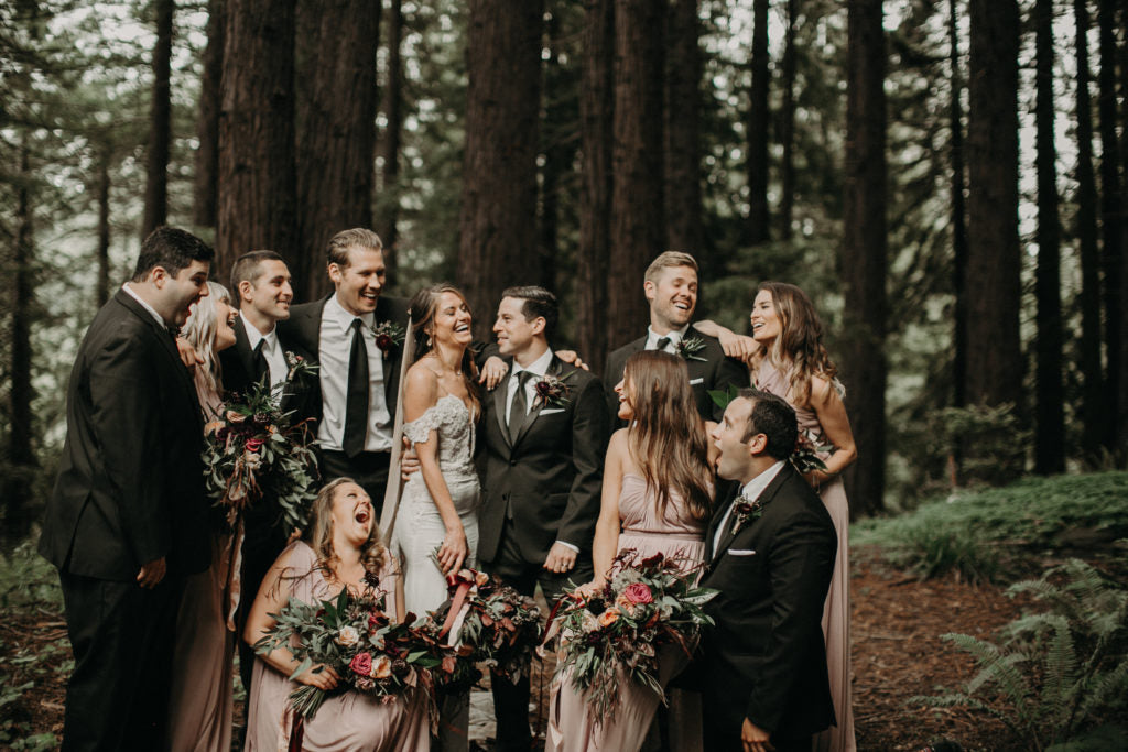 Wedding Party goals: Beautiful people and flowers in blush and burgundy hues. Photo by From the Daisies.