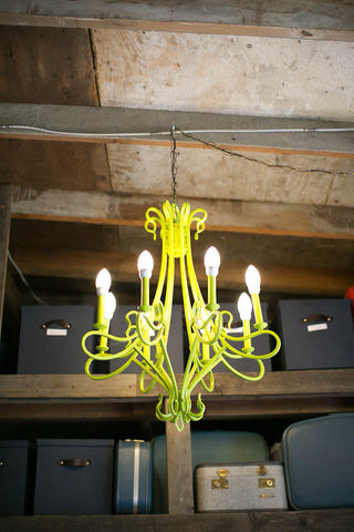the signature Gorgeous and Green chartreuse chandelier. Repurposed.