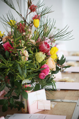 details of the Gorgeous and Green tablescapes and giveaways at the Identite collective workshop at Oh Happy Day