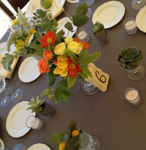 Centerpieces by Gorgeous and Green at Cornerstone Sonoma in vintage vessels