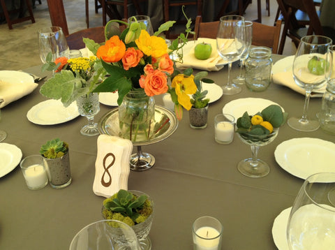 Citrus inspired wedding colors in vintage containers by Gorgeous and green
