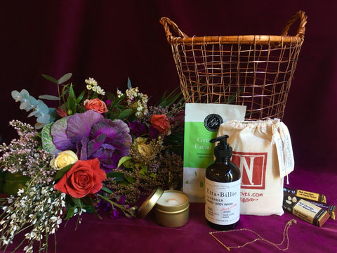 La femme gift basket with a hand tied bouquet by Gorgeous and Green