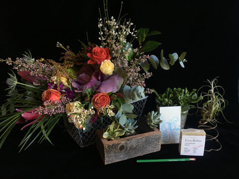 The Grow Things gift basket featuring plants flowers and sustainable gifts by Gorgeous and Green