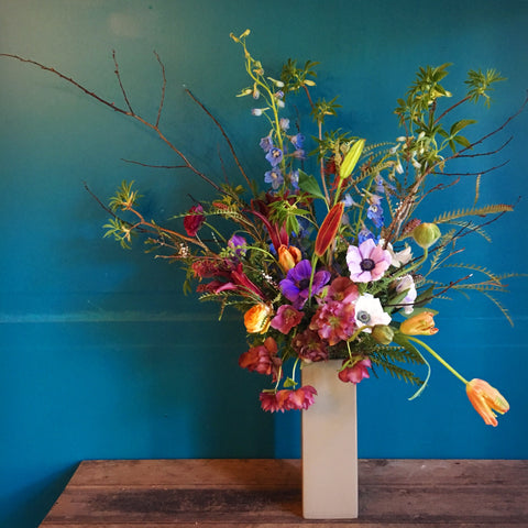 Tall wild and beautiful floral design by Gorgeous and Green