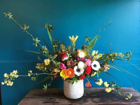 A large and branching floral arrangement by Gorgeous and Green without floral foam