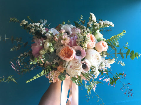 Beautiful garden inspired blush and white bridal bouquet with jasmine anemones david austens by Gorgeous and Green