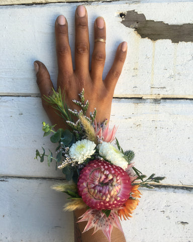 Strawflower detailed wedding corsage by Gorgeous and Green.