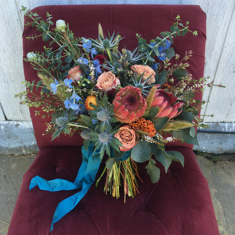 Teal ribbons, corals, pinks and and blues for a summer bride by Gorgeous and Green