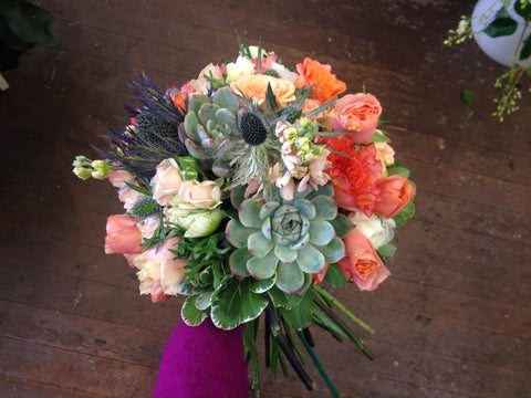 succulent dahlia and garden rose bouquet for a bride by Gorgeous and Green