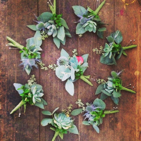 succulent boutonniere mandala by Gorgeous and Green