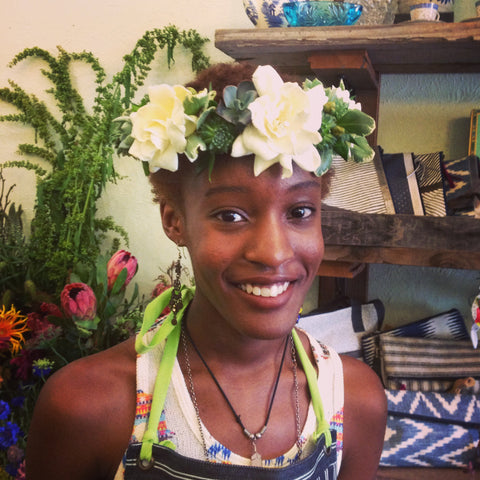 succulent and gardenia bridal crown for a wedding in Berkeley by GOrgeous and Green