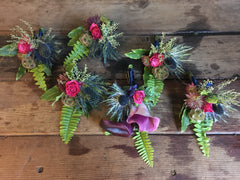 Purple, violet, blue and fucshia boutonnieres by Gorgeous and Green