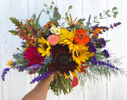 sunflower, summer bloom and black eyed susans for a bridal bouquet by Gorgeous and Green