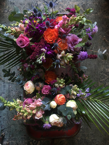 Jewel rich flower arrangements for delivery to Berkeley Oakland and Emeryville by Gorgeous and Green